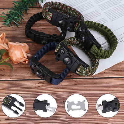 Outdoor Camping Survival Bracelet Paracord Rescue Wristband Umbrella Rope KitX_L