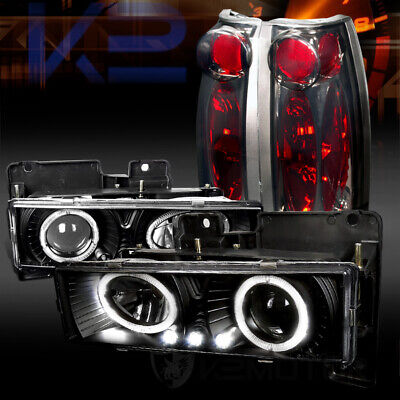 88-98 Chevy C/K Pickup Black Halo LED Projector Headlights+Smoke Tail Lamps
