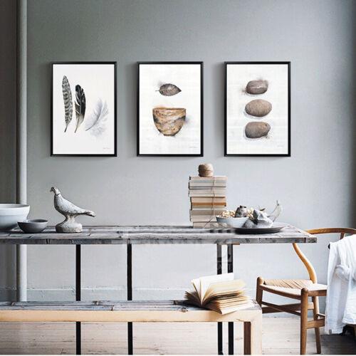 3+Piece+Wall+Art+-+Vintage+Stone+Feathers+Nest+Digital+Canvas+Prints+%28Unframed%29