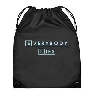 EVERYBODY-LIES-House-Quote-Black-Drawstring-Bag-hugh-laurie-MD-gregory-house-NEW