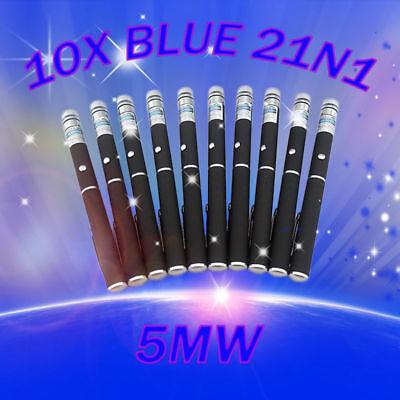 10pcs 2in1 Blue/Violet Laser Pointer Pen 405nm Visible Beam Light Lazer Star Cap