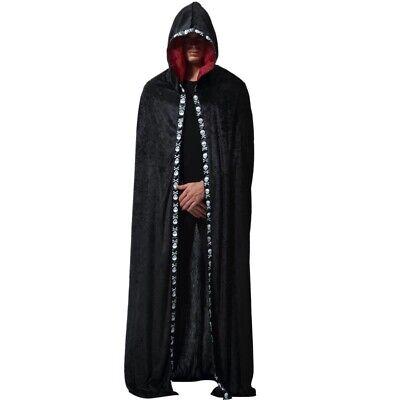Black Robe Halloween Costume (Halloween Party Costume Velvet Hooded Cloak Cape Medieval Vampire Robe Black)