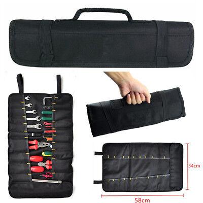 Car Tool Screwdriver Spanner Bag 22 Pocket Reel Storage Pouch Black Oxford Cloth