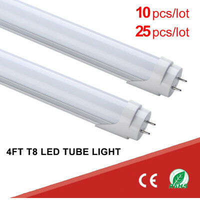 10 25 4FT LED Light 6500K Daylight White Fluorescent Replacement Tube T8 T10 -