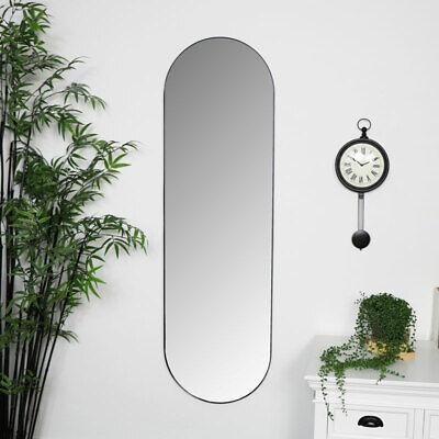 Alto Ovalado Espejo de Pared Metal Negro Marco Cuarto Estar Recibidor Dormitorio