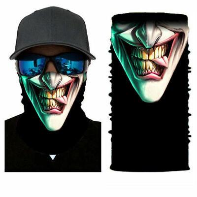 3D Joker Skull Motorcycle Cycling Neck Scarf Half Face Mask Bandana  Headband ()