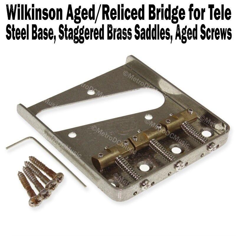 Wilkinson Aged Chrome Telecaster Bridge Brass Saddles Fender Tele WTBCR Reliced