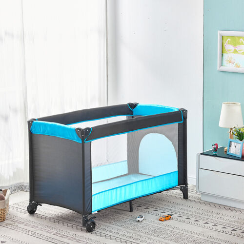 Folding Portable Baby Travel Cot Crib Bassinet Bed Playpen Infants Mattress New