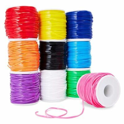 10 Plastic Lacing String Cord for DIY, 10 Colors, 2.5 x 1mm, 50 Yards Length Plastic Yard Twine