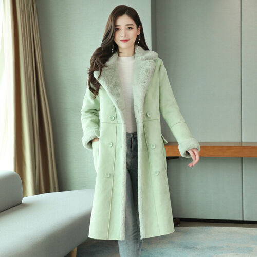 Winter Womens Parka Suede Faux Lamb Fur Lined Warm Coats Mid Long Jacket Thicken