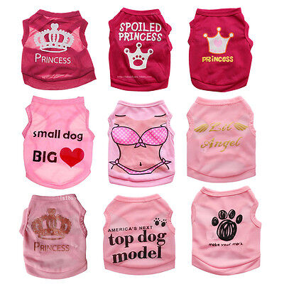 XS/S/M/L Cute Girl Dog Clothes Pet Puppy Cat Apparel Costume Summer Shirt Vest - Girl Dog Costumes