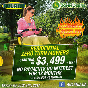 Residential Zero Turn Mower starting at $3,499 Summer Sizzler!