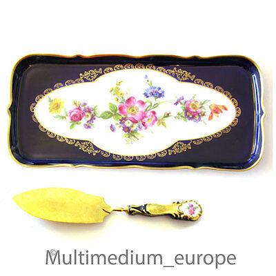 Lindner Porzellan Kuchen Platte mit Tortenheber Kobalt Blau Rosen Blumen Ätzgold