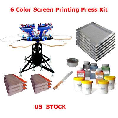 6 Color Silk Screen Printing Kit Rotary Printer Ink Scraper Aluminum Frame Press