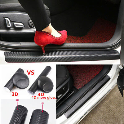 4x 4D Carbon Fiber Car Accessories Door Sill Scuff Protector Stickers & Tool
