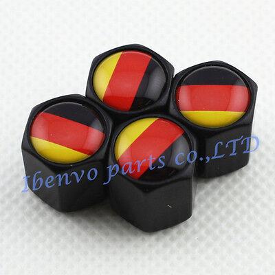 Black Styling Metal Car Wheel Tyre Tire Stem Air Valve Cap For German Flag Dwg
