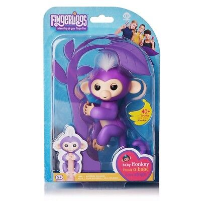 100  Authentic Toy Wowwee Fingerlings Mia Baby Monkey Interactive Toy   Purple