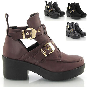 Women-Flat-Low-Heel-Strappy-Buckles-Cut-Out-Chelsea-Ankle-Boots-Shoes-Si