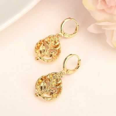 Stunning gold plated circle rose flower shape dangle earrings - Flower Shape