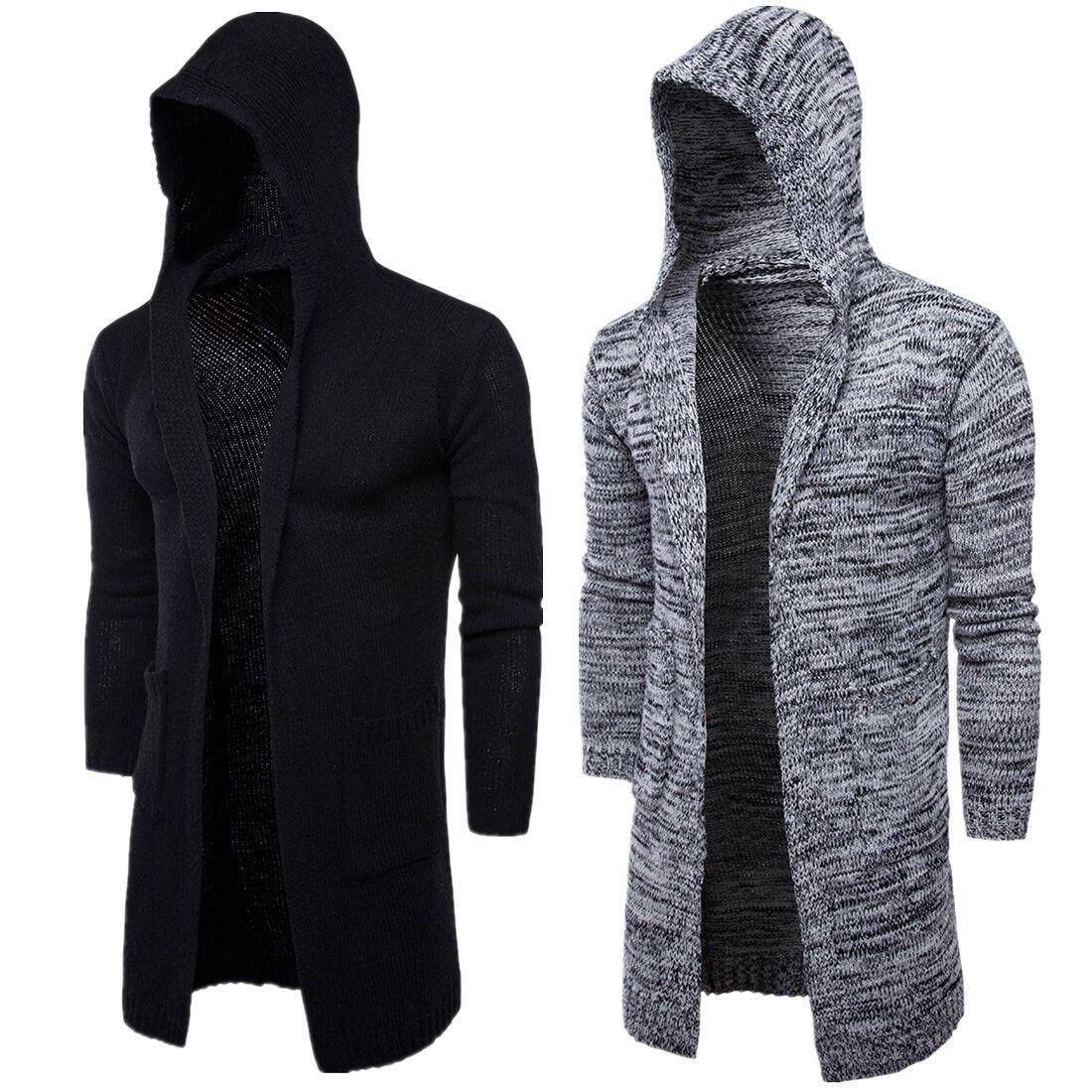 New Trend Thick Men's Windbreaker Long Hooded Sweater Cardigan ...
