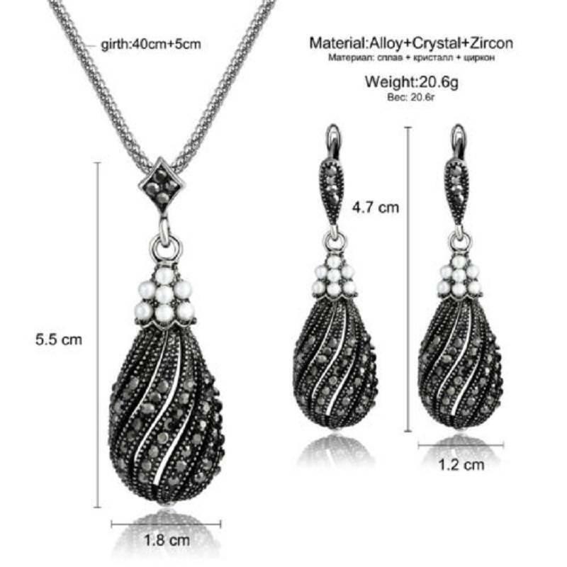 Vintage Silver Zircon Pearl Necklace Earrings Women Jewelry