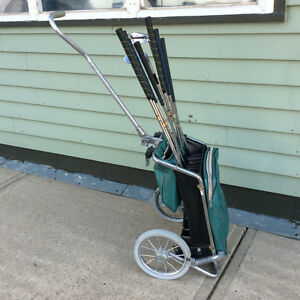 Vintage 1950s Golf Bag Cart with 7 Ben Hogan irons clubs