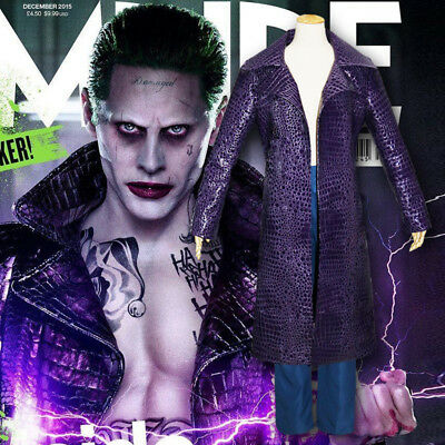 Suicide Squad The Joker Men Purple Faux Leather Coat Jared Leto Cospaly Costume](The Joker Costume For Men)