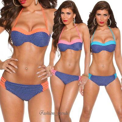 Neckholder Bandeau Polka Dot Bikini Set Badeanzug Gepunktet*S M L XL-36 38 40 42 Polka Set