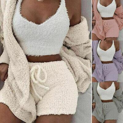 Fluffy Hooded Long Sleeves Coat Open Front + Shorts+Vest Women Winter Coat Set Hood Vest Set