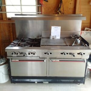 Commercial gas grill, stove and oven