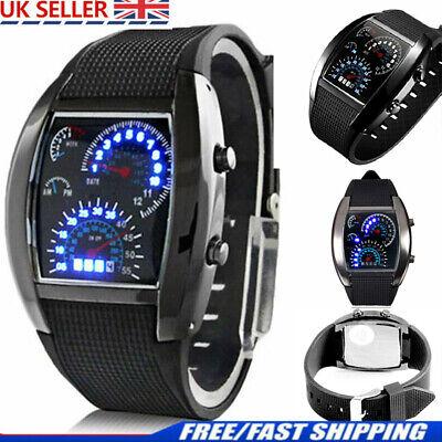 Black Men Stainless Steel Luxury Fashion Sport Analog Quartz LED Wrist Watch NEW