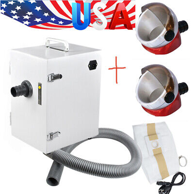 Usa 370w Dental Digital Dust Collector Vacuum Cleaner 2x Desktop Suction Base