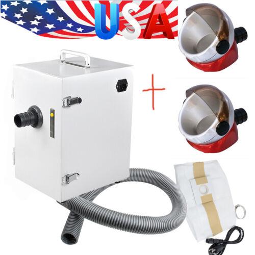 USA 370W Dental Digital Dust Collector Vacuum Cleaner + 2X Desktop Suction Base