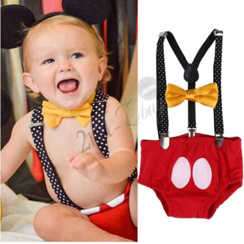 Baby Boy Mickey Mouse Themed Birthday Cake Smash Outfits Photography Prop Romper