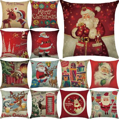 Christmas Pillow Case Santa Cotton Linen Sofa Car Throw Cushion Cover Home Decor ()