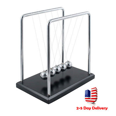 Pro Newtons Cradle Fun Steel Balance Ball Physics Science Pendulum Desk Toy Gift