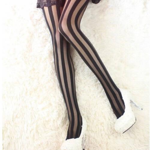 Women Fashion Sexy Black Vertical Stripes Pattern Pantyhose