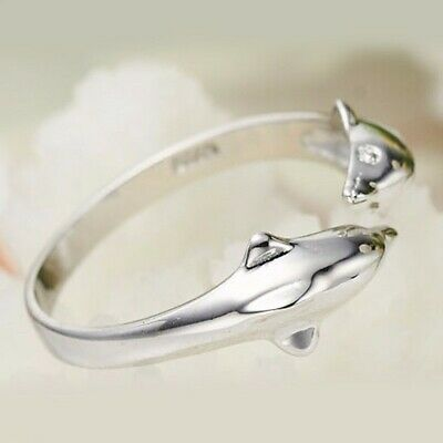 18k White Gold Filled Ring Double Dolphin Adjustable GF Charm Wedding Jewelry