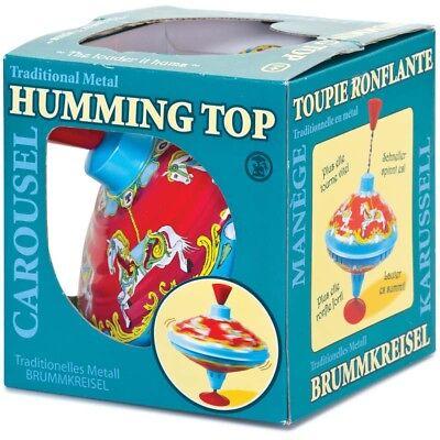 Spin Top Spielzeug (CAROUSEL HUMMING TOP - 04598 TRADITONAL COLOURFUL METAL TIN KIDS FUN SPIN TOY )