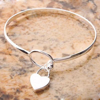 Fashion Women Charm Peach Heart Bangle Bracelet Cuff Silver Plated Bracelets LB