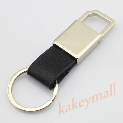 Car Motor Parts Metal + PU Key Ring Holder Chain Fob Case Box Fashion Gift Trim