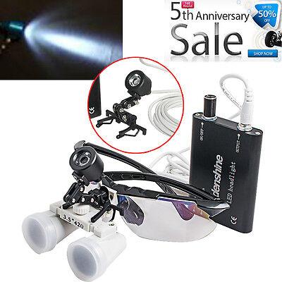 Ce Clip-on Led Head Light3.5x420mm Dental Loupes Optical Glasses Binocular Loup