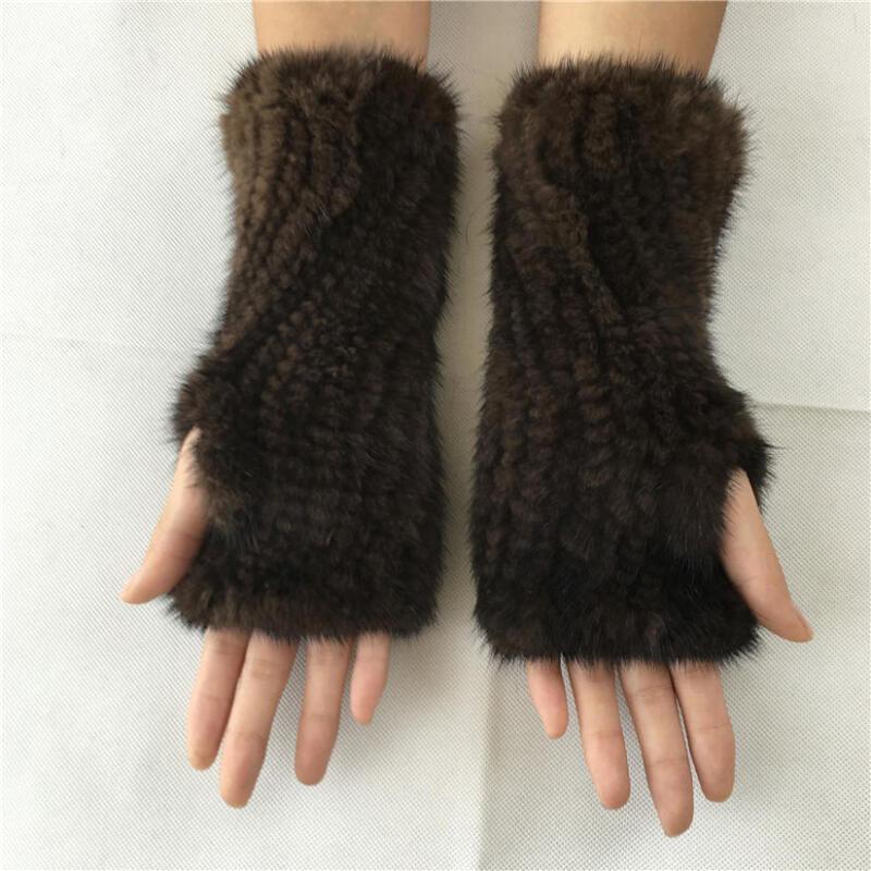 Liyafur Real Mink Fur Knitted Mittens Women Gloves Winter Wrist Warmer 2019 New