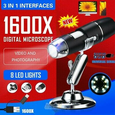 1600x 8led Digital Microscope Camera Handheld 3in1 Usb Magnification Endoscope
