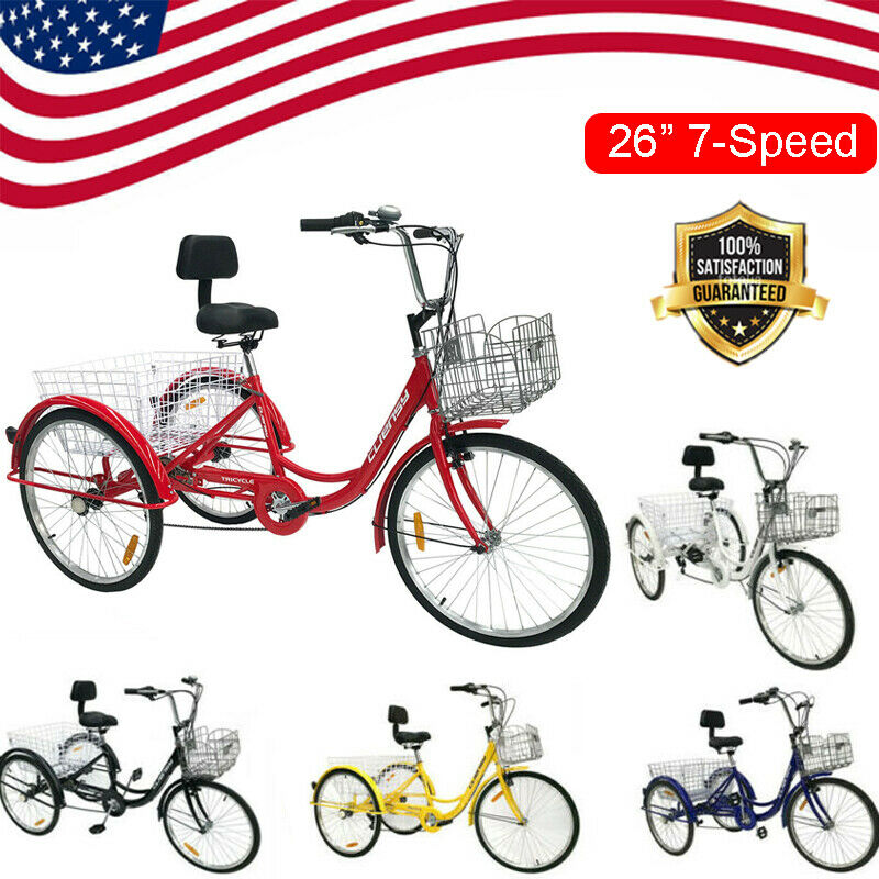 """Double Basket 26/"""" Adult Tricycle 3-Wheel Shinmo 7 Speed Bicycle Trike Yellow US"""