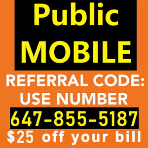 $25 Referral Code for Public Mobile 647-855-5187
