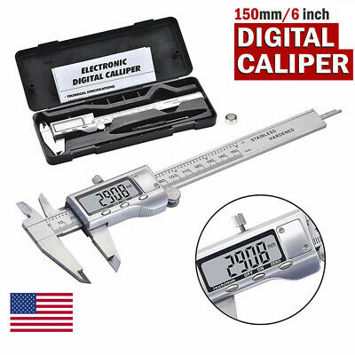 Lcd Electronic Caliper Vernier Stainless Steel Micrometer Gauge Meter Ruler Kit