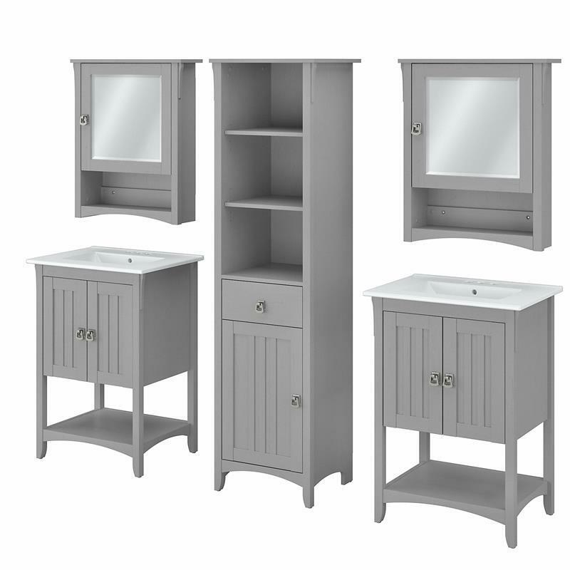 Salinas 48W Double Vanity Set with Sinks and Storage in Gray - Engineered Wood