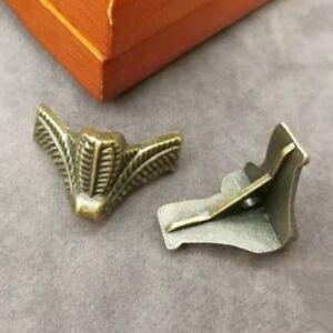 4Pcs Antique Brass Metal Wood Case Jewelry Storage Box Feet Leg Corner Protector