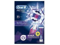 NEW Oral B Pro 650 Pink Cross Action Electric Toothbrush